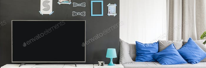 Simple interior with tv and sofa