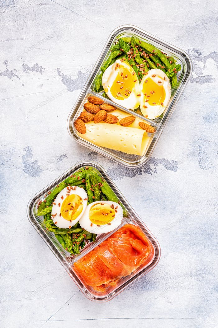 Healthy balanced lunch box, ketogenic diet lunch.