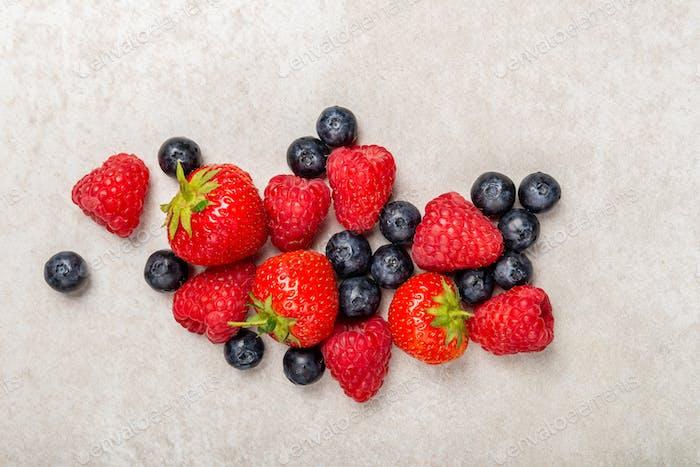 Fresh summer berries such as blueberries, strawberries, raspberries