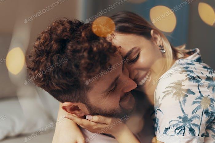 Closeup portrait of lovers