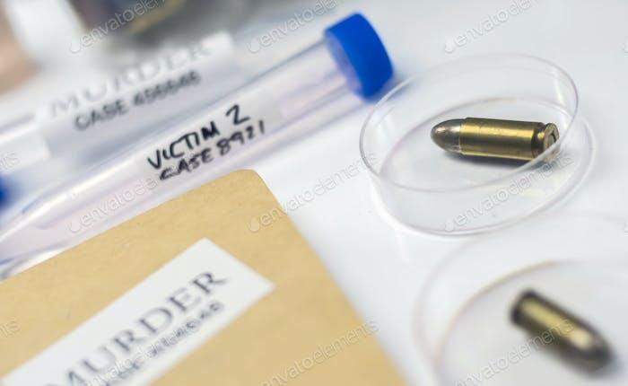 bullet in ballistic Laboratory, conceptual image