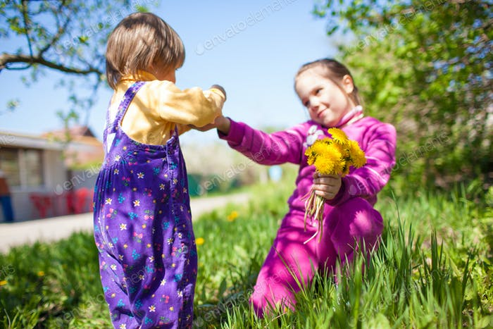 Girl sitting on grass and giving blooming yellow dandelion flower to small boy
