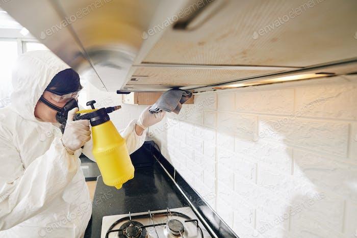 Limpieza trabajador de servicio de pulverización detergente