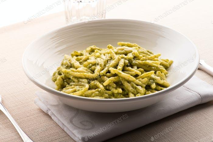 Trofie al Pesto, a regional pasta from Liguria