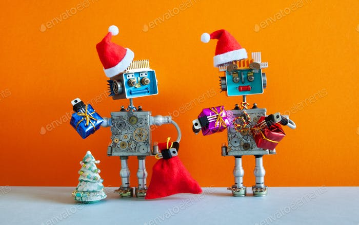 Romantic happy Santa Claus robots Christmas New Year party greeting card