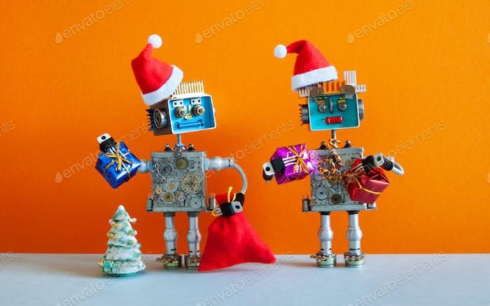 Romantische Glückliche Weihnachtsmann Roboter Weihnachten Neujahr Party Grußkarte
