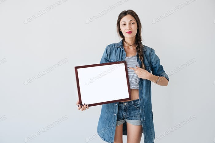 Woman with advertising frame