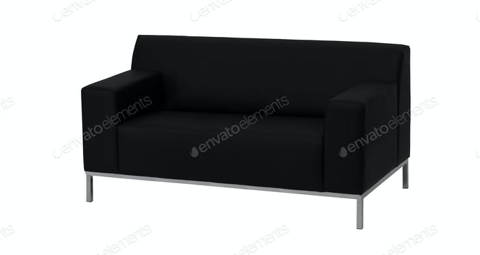 modern black leather sofa isolated against white background
