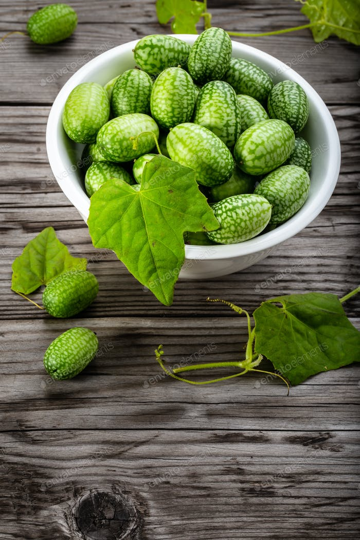Fresh cucamelons on table