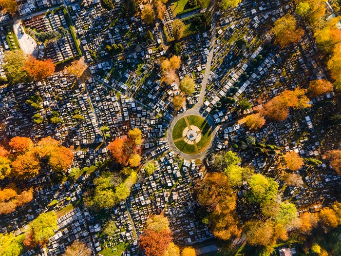 Abstract Geometric Pattern in City Graveyard Cemetery. Aerial Top Down Drone View