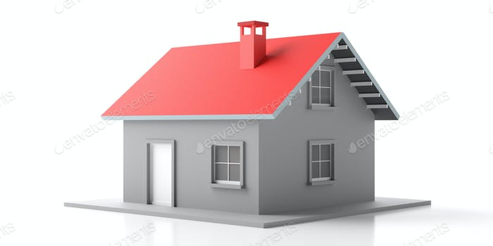 Haus Miniatur isoliert vor weißem Hintergrund. 3D Illustration