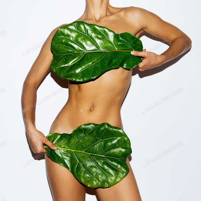 Green Leaf and Body. Bio concept. Modern art