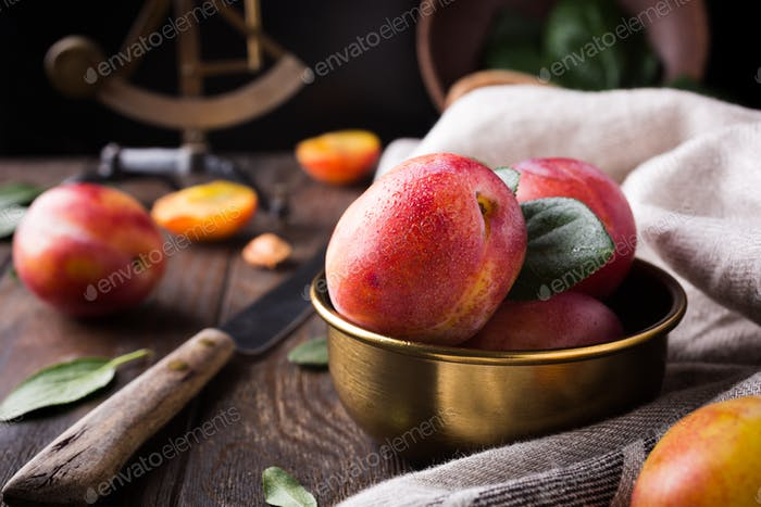 Plums in bronze bowl