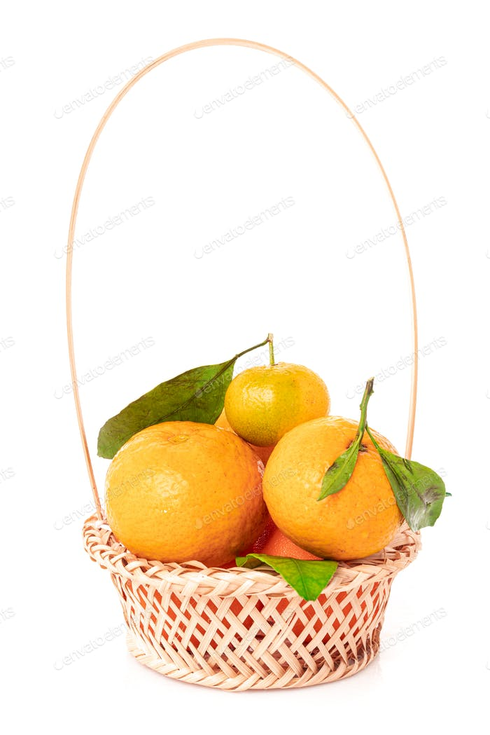 tangerines  with leaves in a beautiful basket. organic ripe mandarins