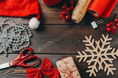 Christmas season. Holiday preparation accessories, top view