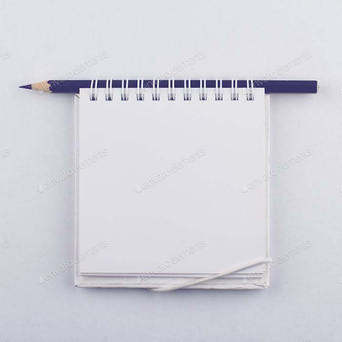 Empty paper notebook with spiral and a black pen