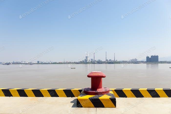 inland pier and yangtze river landscape