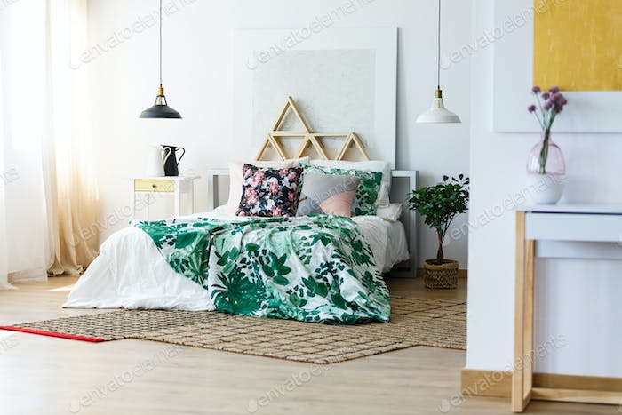 Bedding and modern furniture