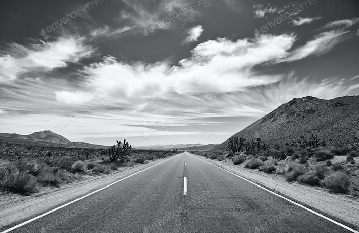 Black and white picture of the Death Valley desert road.