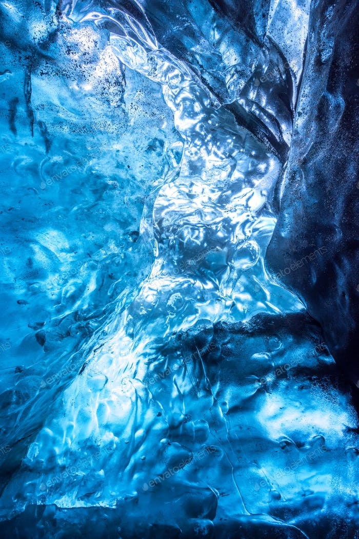 Abstract of an ice cave texture, Vatnajokull glacier, Iceland