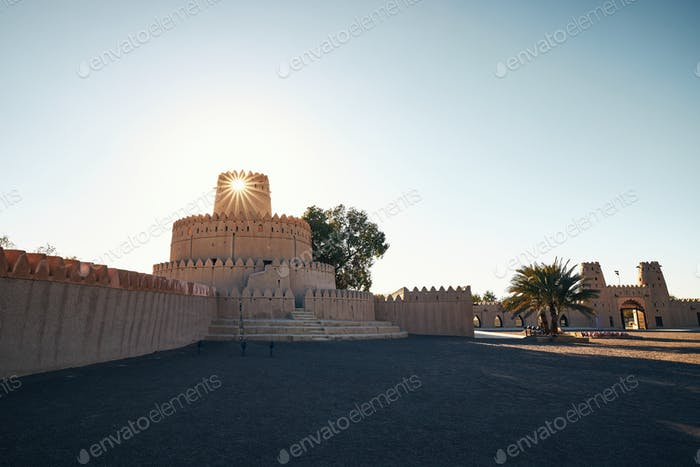 Towers of historical fort at sunrise
