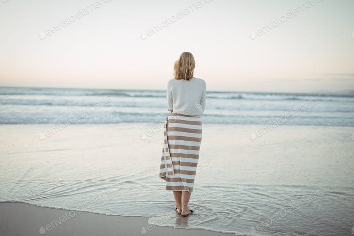 Rear view of woman standing at beach during dusk