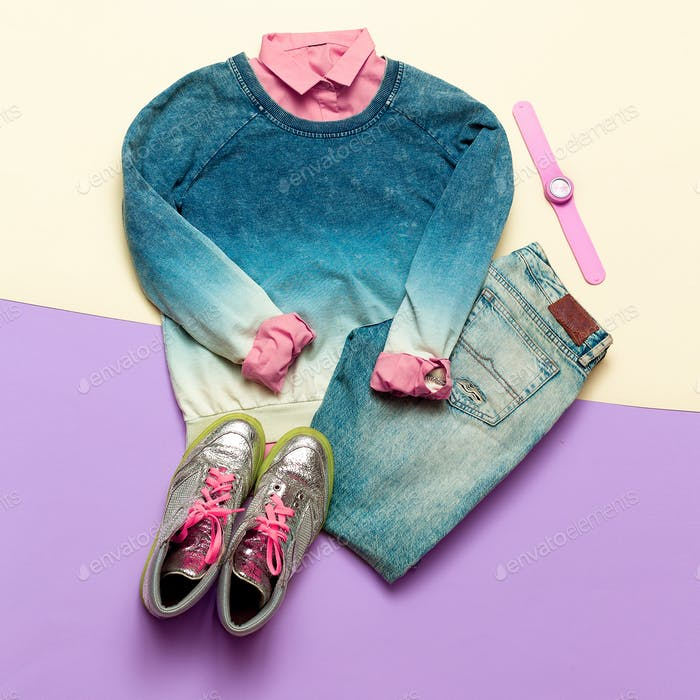 Fashion woman accessories set. Vanilla Lady. jeans, Sweater and