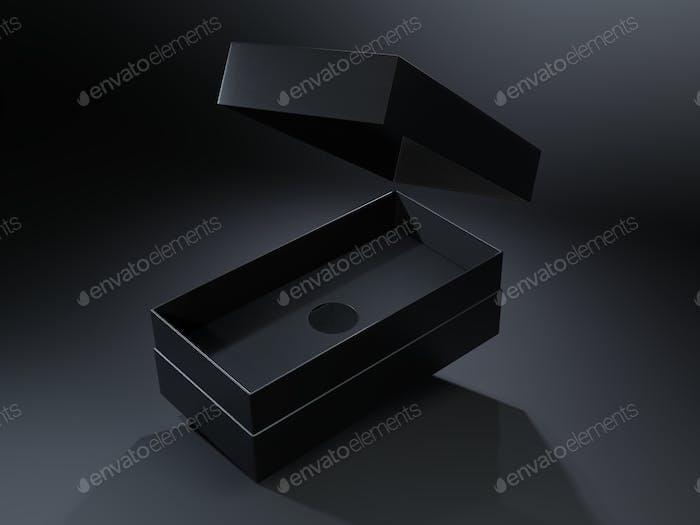 Schwarze leere Pappschachtel auf dunklem Hintergrund. Mock-up-Vorlage.