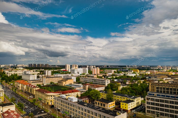 Top view of the historical center of Minsk .Old town in the center of Minsk and Independence Avenue