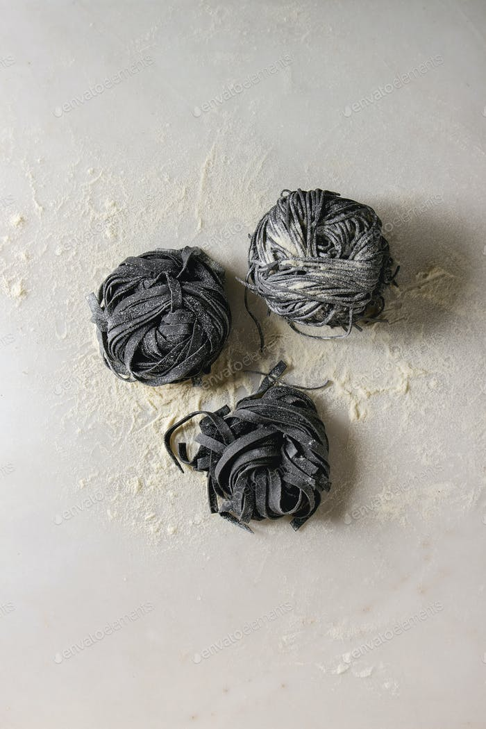 Fresh uncooked black pasta