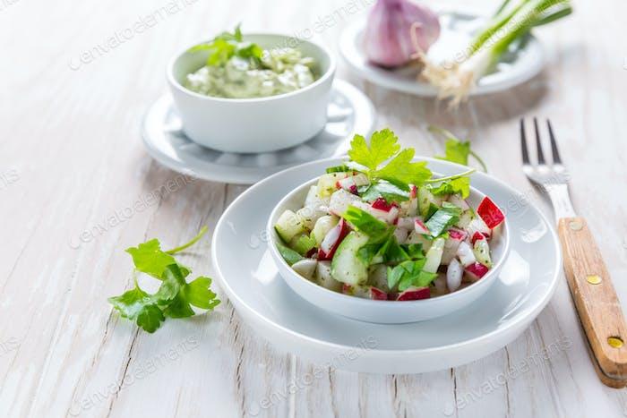 Spring salad with radish, cucumber and avocado