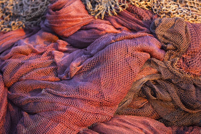 Red fishing nets