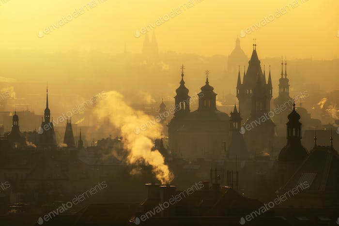 Foggy morning during sunrise, Prague, Czech republic