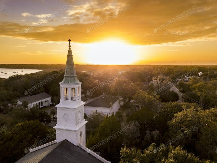 Aerial view of historic church steeple and sunset in Beaufort, S