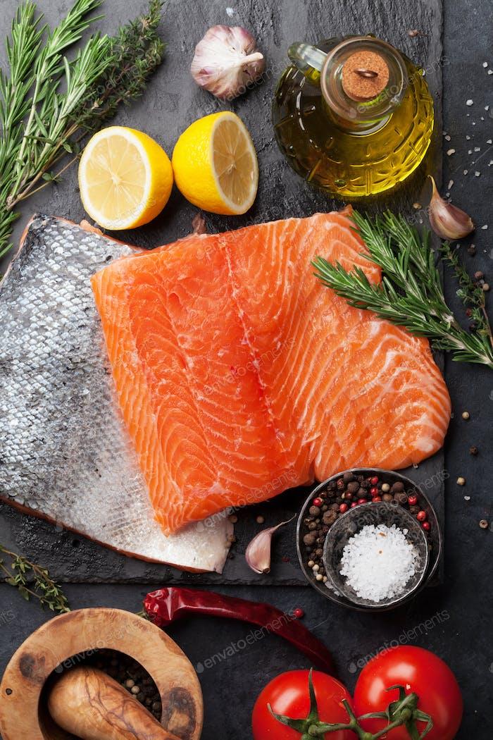 Raw salmon fish fillet