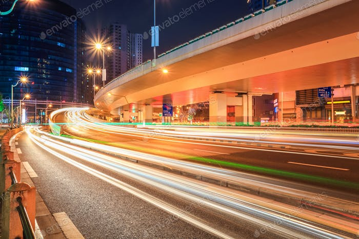 light trails on the road