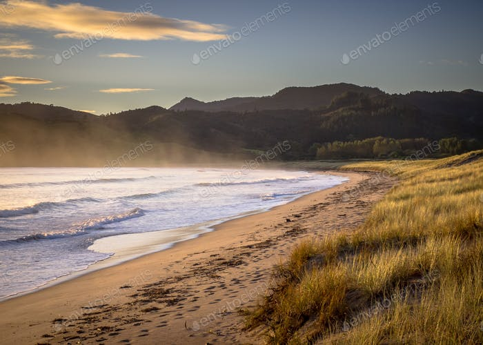 Ocean waves on the beach at Waikawau Bay New Zealand