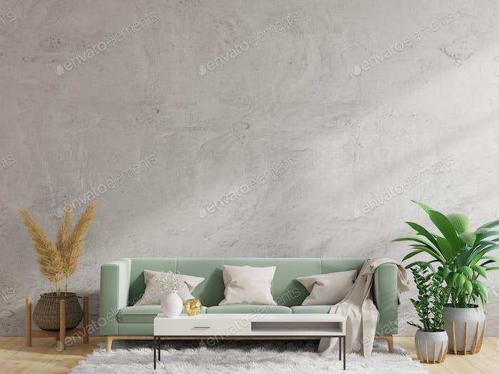 Concrete wall living room.