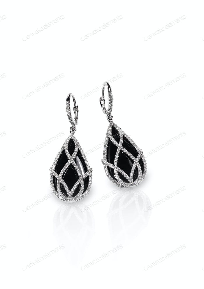 Black Onyx and diamond pierced earrings