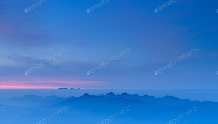 Thumbnail for Morning Mist at Tropical Mountain Range at sunrise, Chiangmai,Thailand