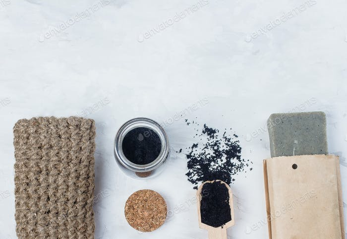 Top view of Homemade scrub made of sugar and ground coffee. Spa, beauty skincare body concept