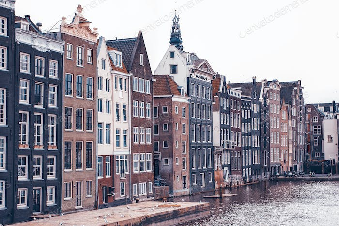 Traditional dutch buildings, in Amsterdam