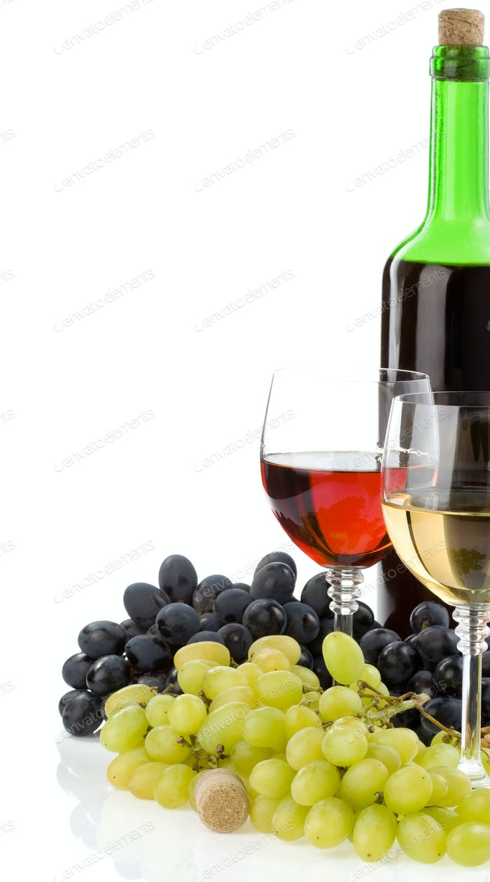 wine in glass and bottle with grape