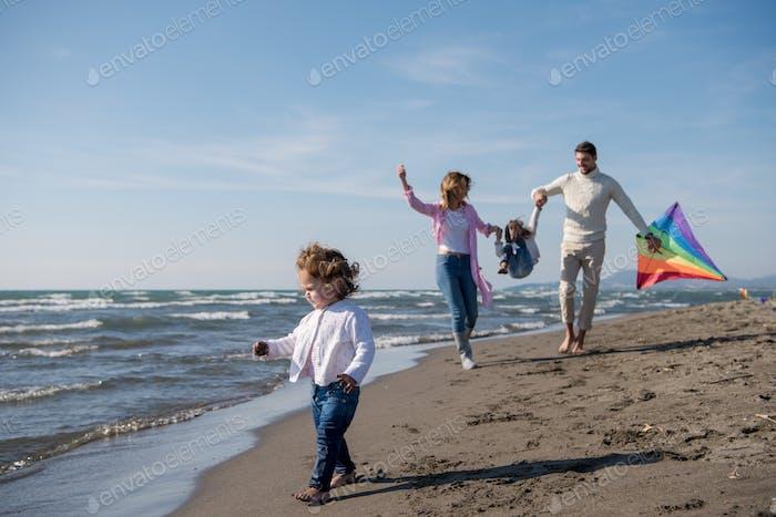 happy family enjoying vecation during autumn day