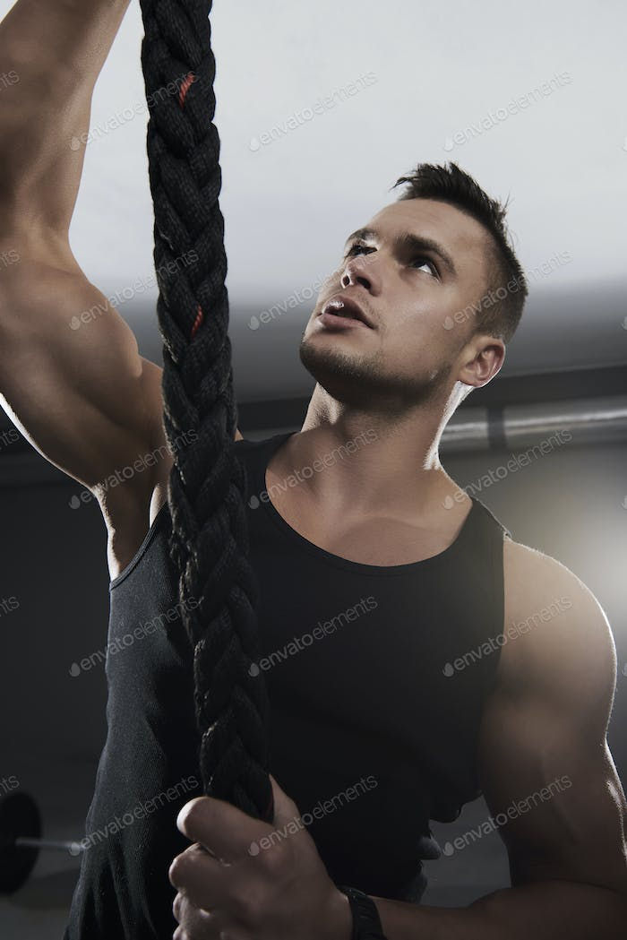Pulling a rope is good arm exercise