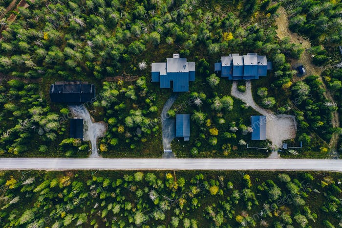 Aerial view of rural village, residential area with cottages in Finland