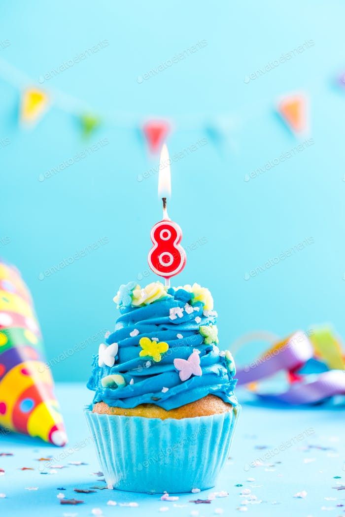 Eighth 8th birthday cupcake with candle. Card mockup.