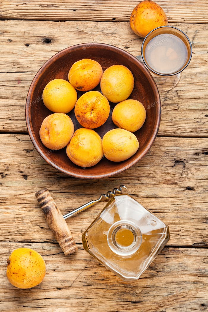 Homemade apricot wine