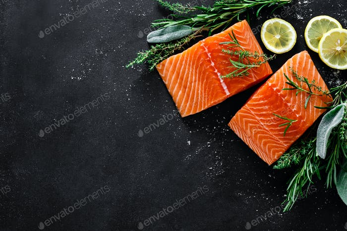 Salmon. Fresh raw salmon fish fillet