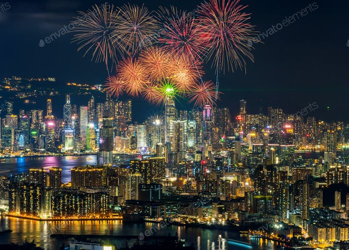 Fireworks Festival over Hong Kong cityscape, Top view of hong Kong Victoria Harbour